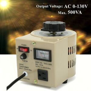 Variable Ac Transformer 500va Variac 5 Amps Metered Voltage Regulator 0 130v Us