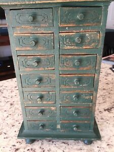 Vintage Teal Green 14 Draw Spice Chest Box 13 Tall