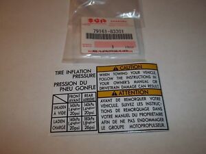 Oem 1986 1995 Suzuki Samurai Tire Inflation Guide Towing Caution Label