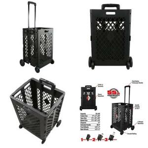Grocery Shopping Cart With Wheels Home Shop N Go Laundry Plastic Folding Utility