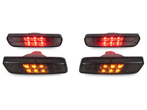 Crystal Smoke Front Amber rear Red Led Bumper Side Markers For 01 05 Lexus Is300
