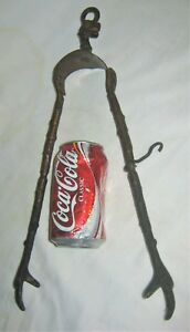 Antique Primitive Stove Fire Hearth Cast Iron Cooking Bird Claw Feet Tongs Tool