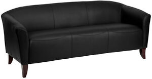 Black Bonded Sofa Leather Reception Seating Reception Furniture Office