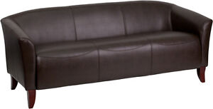 Brown Bonded Sofa Leather Reception Seating Reception Furniture Office