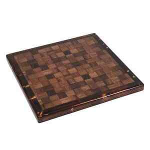 New Restaurant Checkered Table Top Wood Edge Walnut Furniture Rectangle 30x45