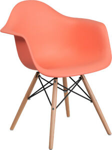 Peach Plastic Chair With Wood Base Restaurant Furniture Banquet Accent