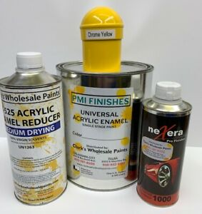 Chrome Yellow Gallon Kit Single Stage Acrylic Enamel Car Auto Paint Kit