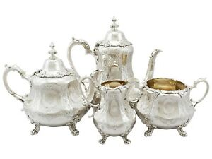 Antique Victorian Sterling Silver Four Piece Tea And Coffee Service 1863