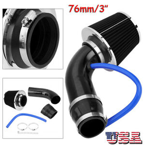 76mm 3 Universal Car Cold Air Intake Filter Induction Kit Pipe Hose System