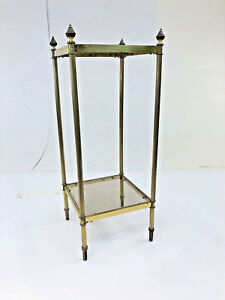 Vintage Brass Accent Table Glass Top Hollywood Regency Cocktail Tier Plant Stand