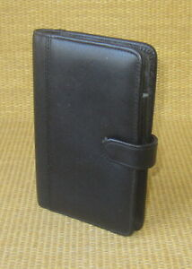 Pocket Size Black Leather Day runner timer Planner Cover Wire Bound Snap