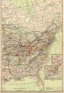 1916 Antique United States Map Vintage Projected Railroads Map Of The Usa 5326