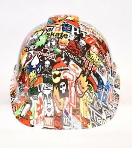 Ridgeline Vented Cap Style Hard Hat Custom Hydrodipped In Skate Sticker Bomb