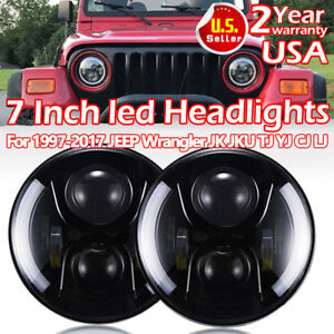 Cree Jeep 7 Wrangler Led Headlights Halo Angel Eyes Headlights Jk 07 2016