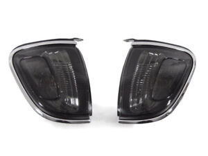 Depo Pair Of Smoke Lens Chrome Trim Corner Lights For 2001 2004 Toyota Tacoma