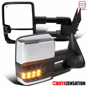 For 1999 2002 Silverado Sierra Chrome Power Heated Tow Mirrors Smoke Led Signal