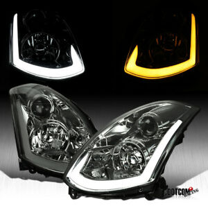 For 2003 2007 G35 Coupe Smoke Projector Headlights Led Sequential Signal