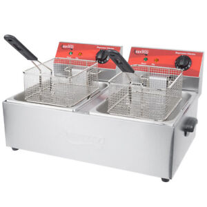 Dual Tank Deep Fryers Electric Commercial Countertop Restaurant Frying Baskets