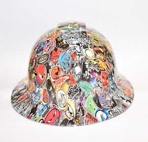 Custom Ridgeline Widebrim Hard Hat Osha Hydro Dipped In Ultimate Sticker Bomb 3
