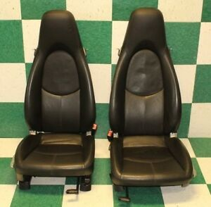 05 12 Boxster S Seats Pair Black Leather Power Recline Buckets Manual Tracks Oem