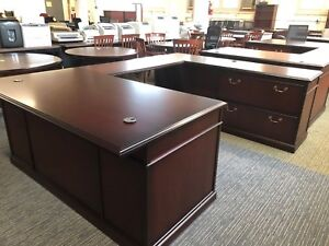 Executive U shape Desk By Steelcase Office Furniture In Mahogany Color Wood