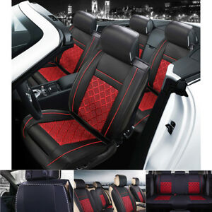 Us Pu Leather cooling Mesh 5 Seat Auto Car Seat Cover Front rear Red black Set