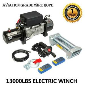 13000lbs 12v Electric Recovery Winch Truck Suv Durable Remote Control 4wd