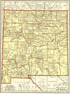 1943 Antique New Mexico Map Gallery Wall Art Map Of New Mexico State Map 5383