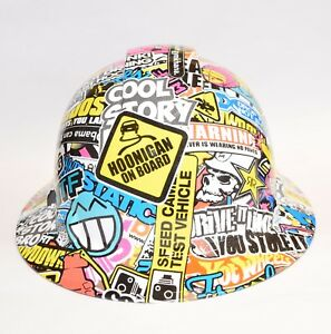 Custom Ridgeline Widebrim Hard Hat Osha Hydro Dipped In Hoonigan Sticker Bomb