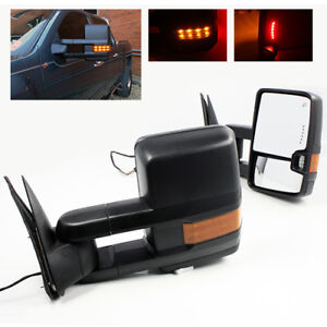 For 99 02 Silverado Power Heated Telescoping Trailer Towing Mirrors Led Signal