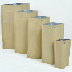 Brown Kraft silver kraft Stand Up Ziplock Bags W Hang Hole Variety Qty Sizes
