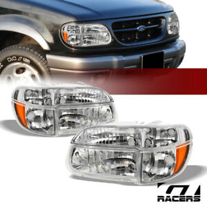 1995 2001 Ford Explorer Chrome Housing Headlights W Corner Signal Lamps Amber Dy