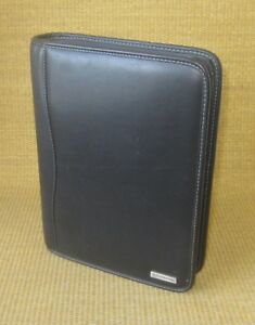 Classic 1 5 Rings Black Leather Franklin Covey Zipper Planner binder W Tab