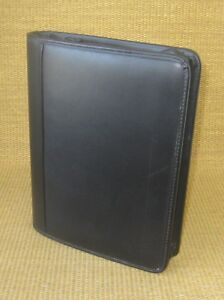Classic 1 125 Gold Rings Black Leather Franklin Covey Zip Planner binder