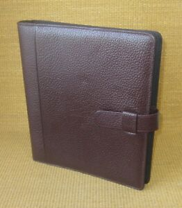 Monarch folio 1 Rings Burgundy Pebbled Leather Day timer Open Planner binder