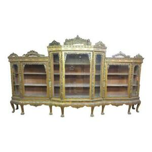 14 Antique Chinese Chippendale Gold Gilt Chinoiserie Break Front China Cabinet