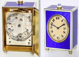 L Tissot 8 Day Minute Repeater Miniature Enamel Carriage Clock Only 7cm High