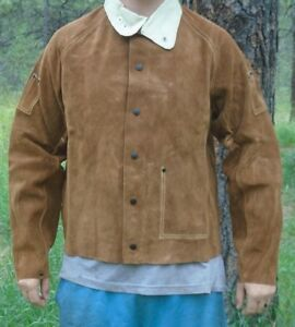 New 26 Leather Welding Jacket With Leather Collar Size Medium