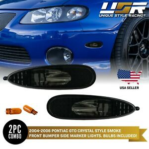 Depo Smoke Bumper Side Marker Lights Amber Bulbs For 2004 2006 Pontiac Gto