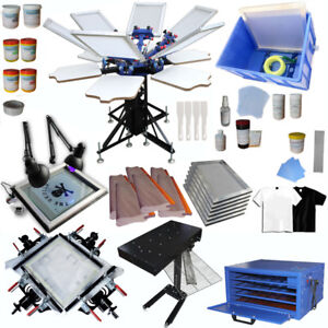 6 Color Silk Screen Printing Press 6 Station Full Set Starter Printing Kit Press