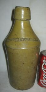 Antique Primitive Us Tavern Pub Stoneware Beer Bottle Lovell Wheeler Sign Art