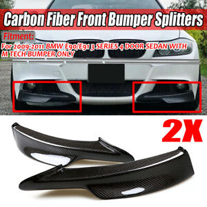 2x Real Carbon Fiber Front Bumper Splitter Lip For Bmw E90 335i 328i Lci M Tech