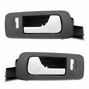 Inside Interior Door Handle Ebony Chrome Front Left Right Pair For 05 11 Sts