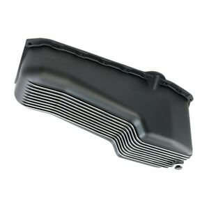 Sbc Finned Black Aluminum Oil Pan Polished Fins Small Block Chevy 55 79