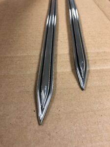 Vintage Type 5 8 Chrome W Black Accen Body Side Molding Formed Pointed Ends