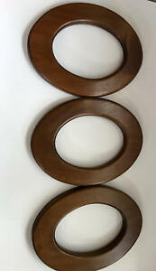 Vintage Set Of Three 10 1 4 X 7 5 Heavy Solid Wood Oval Picture Art Frames