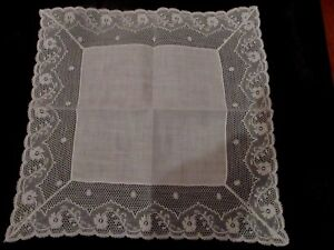Vintage White Wedding Lace Linen Hanky Handkerchief 11 1 2