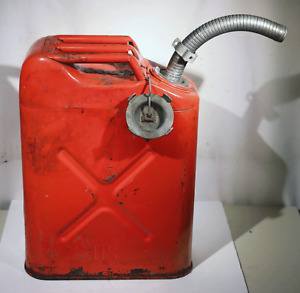 Vintage 1975 Us Red 5 Gallon Steel Usmc 75 Jerrycan Gas Can Metal With Spout