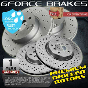 Front Rear Cross Drilled Brake Rotors For 2013 2015 Ford Explorer W h d Brakes