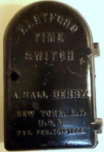 Antique 1909 Cast Iron Hartford Time Switch Industrial Electric Motor Control